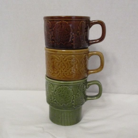 ***SOLD***   MCM Stackable Stoneware Coffee Mugs